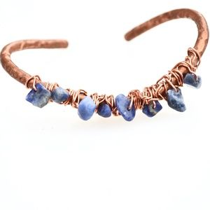 Sodalite Gemstone Wrapped Copper Cuff Bracelet
